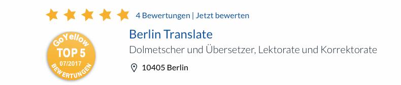 ¿Busca una agencia de traducción competente? Deje que nuestros servicios le convenzan. En Berlin Translate ofrecemos servicios integrales de traducción. Contamos con un equipo de gestores y jefes de proyecto, traductores, revisores y maquetadores. Empleamos estrictos procedimientos de control de calidad y eficiencia que garantizan la máxima calidad en los proyectos de traducción de nuestros clientes en plazos muy ajustados. Actualmente contamos con más de 700 traductores y colaboradores. En su primer encargo recibirá un 7% de descuento.